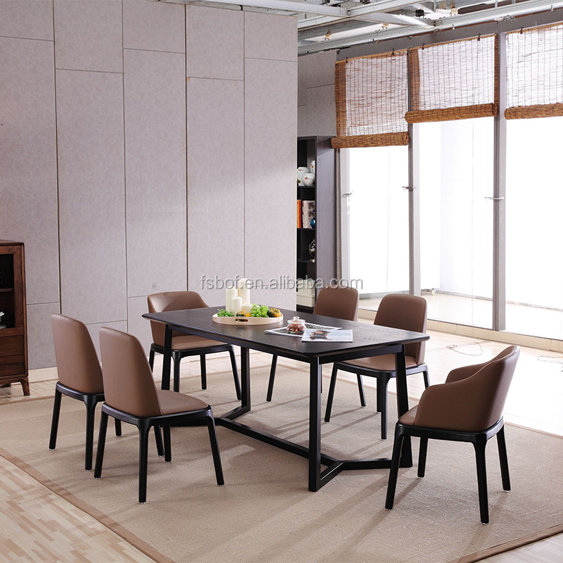 New design bali solid ash wood dining room table and chairs distressed desk leather chair E4016