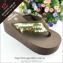 China wholesale bulk Eva nude beach flip flops women high-heeled flip flops