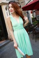 Wholesale 2016 Summer Pure Color Wear Beach Dress Cheap Casual Women Summer Party Wrap Dress