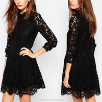 China Supplier Pictures of Latest Design Point Collar Lace Overlay 2016 Ladies Fashion Shirt Dress