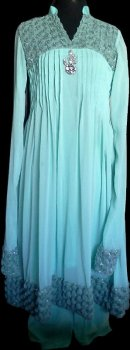 Sea Green Pleated Frock Pakistani Indian Shalwar Kameez