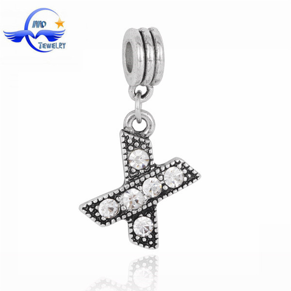 Best Selling Silver Crystal DIY Bead Letters Fit European Imitation Pan Bracelet Jewelry