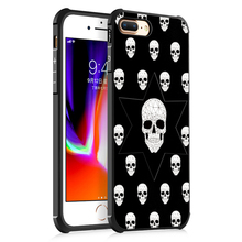 Custom Case for iPhone 7 plus , Skull White Cat Animal Premium Silicon TPU Phone Case for iPhone 8 plus