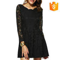 2016 plus size lace long sleeves mini dress cheap for casual women