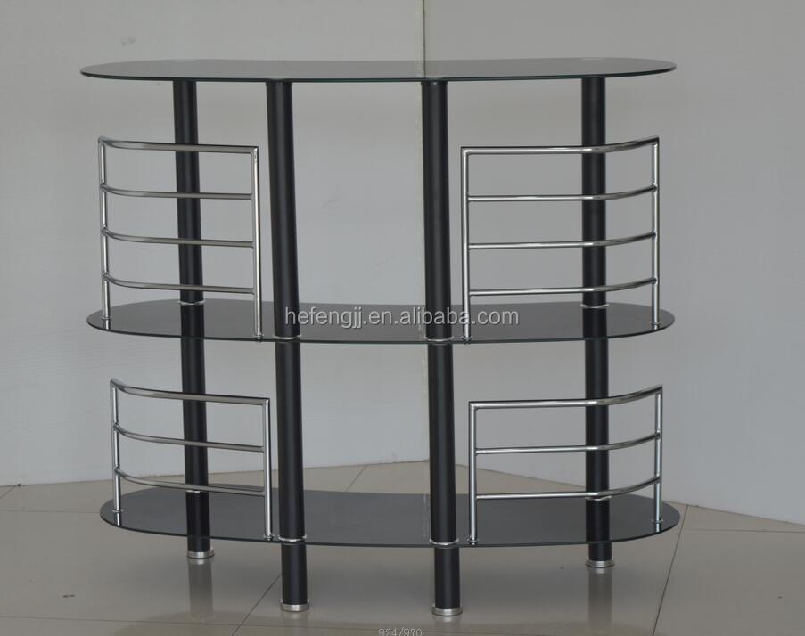 Powder Coated Metal and Glass Wine Table