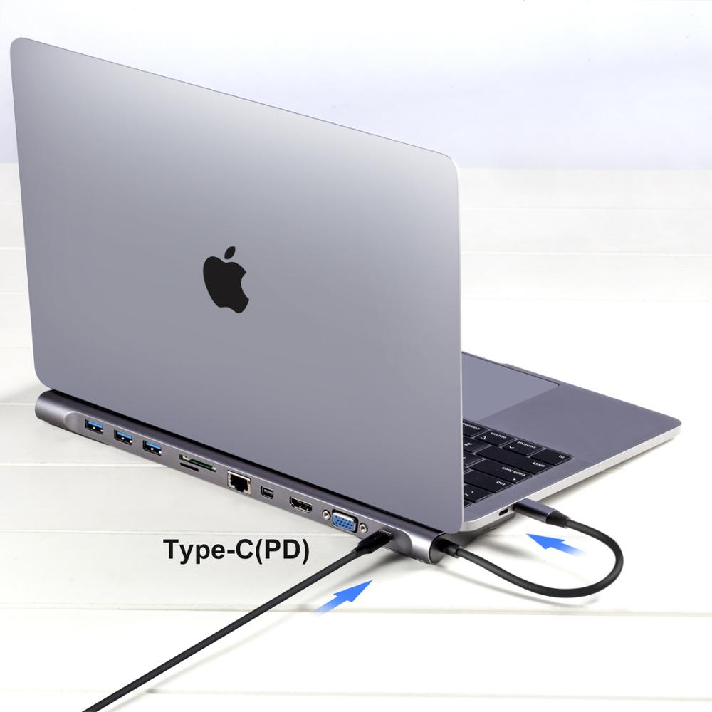 Aluminum alloy Laptop Base holder 11 in 1 usb type <strong>c</strong> hub for macbook air pro