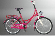 20 inch pink Dutch with front dynamo light steel frame city bicycle