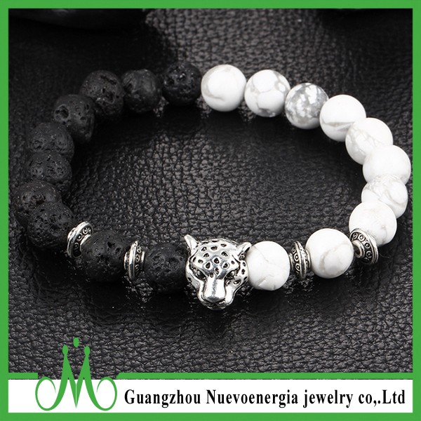 Men bead bracelet hot sale black and white lava bead bracelet with leopard popular jewelry