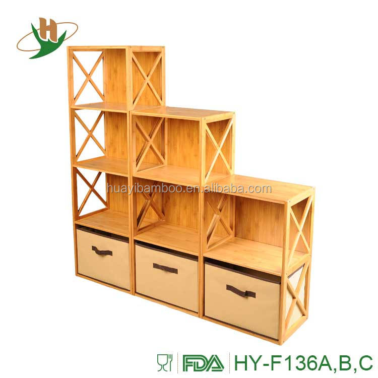 Home funiture custom storage bamboo wooden portable bookshelf for kids