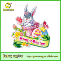 easter party decoration Best Selling Color Egg& Rabbit Easter Sticker for School Decoration