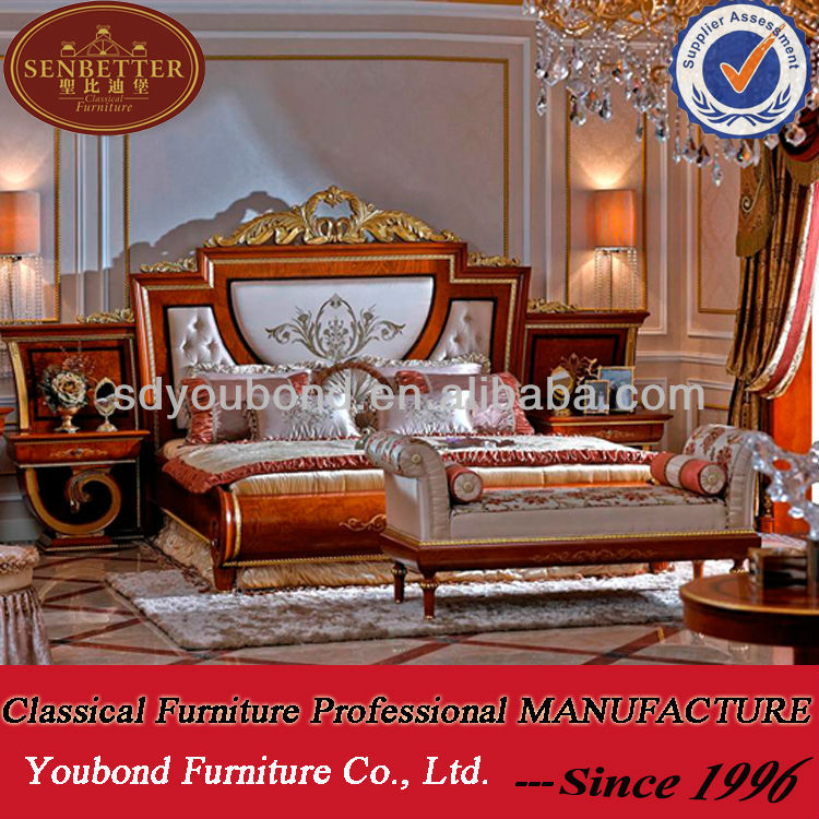 Classic luxury bedroom furniture/golden bedroom/wooden bedroom set 0038