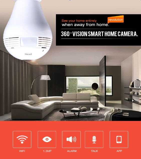 Newest WIFI light Bulb Hidden fisheye ip camera