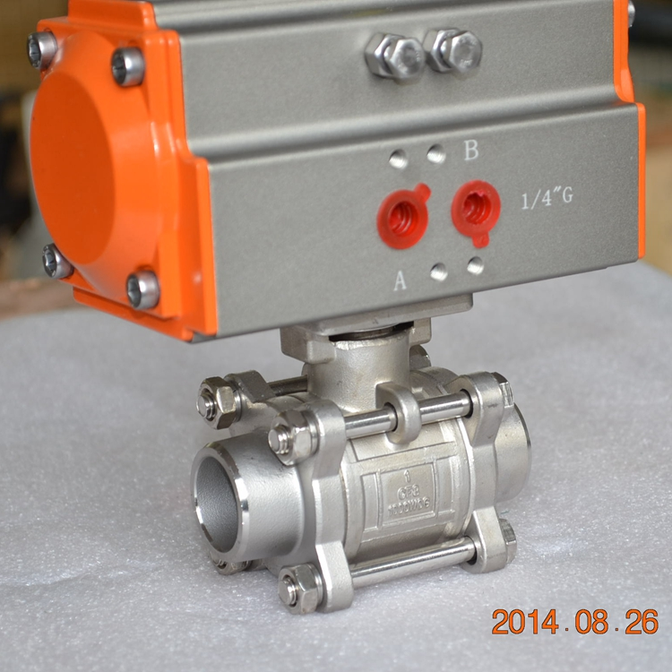 POV high quality welding 3 pieces air-operated steam ball valve dn20