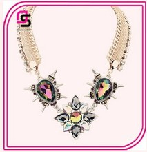 Costume Party Jewelry Gem Crystal Cluster Necklace Collar 2015 Fashion