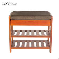 Promotional double-layer footstool solid wood woven fabric shoe cabinet seat shoes changing stool