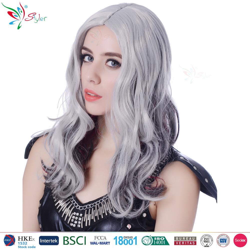 Styler Brand synthetic carnival wig curly grey ombre wig