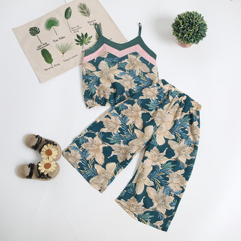 New Fashion High Quality Girls Clothes Wholesale Summer Season 2 Pieces Sets