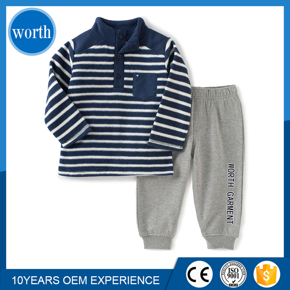 (Professional custom) Autumn/Winter Baby's Boutique Clothing 2 Pcs Set Hoody and Pants with customized Plastisol Print