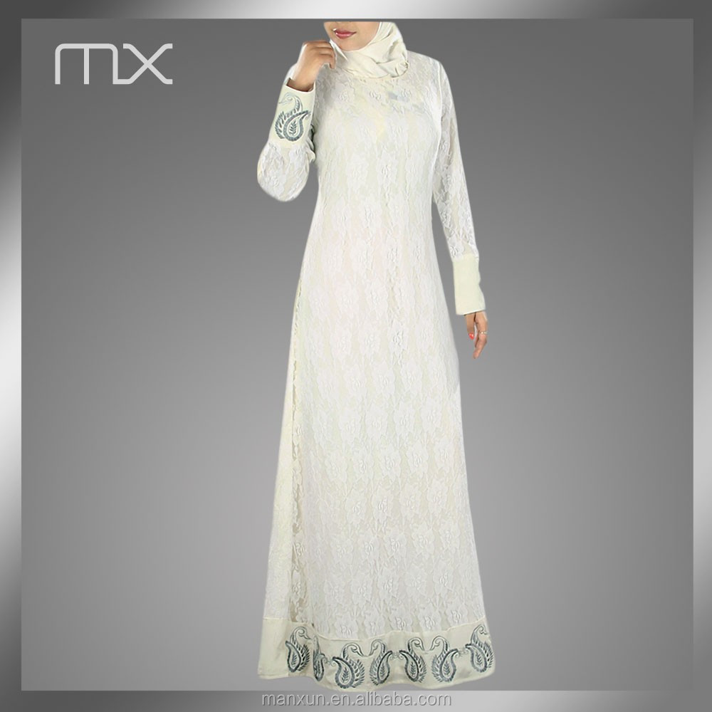 wholesale lace muslim hijab wedding dress long sleeves islamic casual dresses pakistani new style dresses for middle east