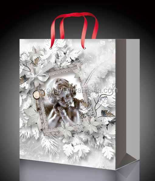 2017 hot sale fancy Christmas paper gift bag