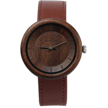 Fashion Top Quality Genuine Leather Walnut Wood Watches Ladies Display