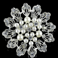 Fashion Pearl Flower Brooches Rhinestone Brooches