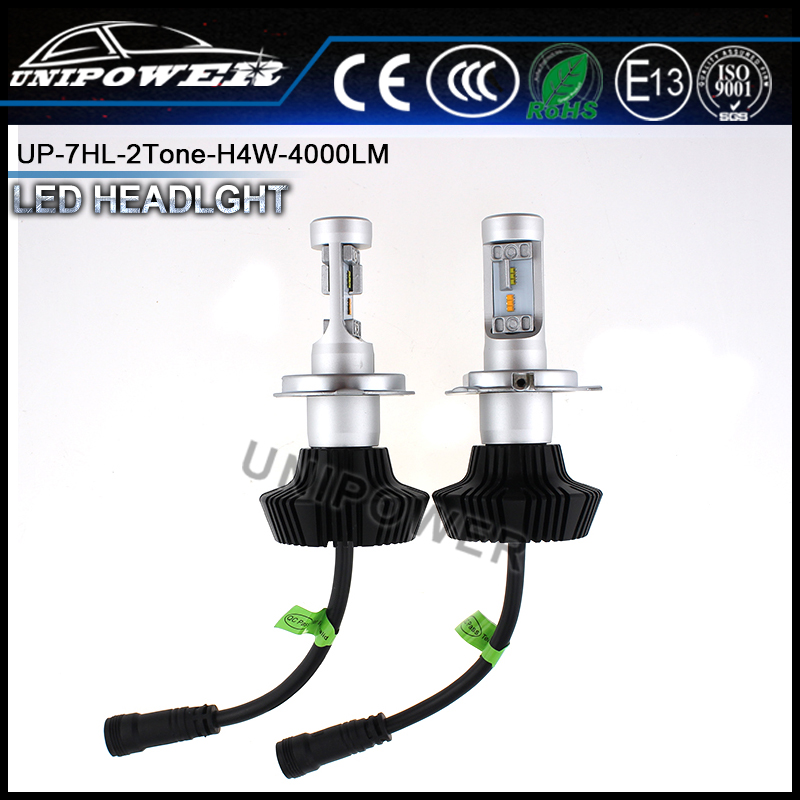 2Pcs 25w 4000lm H4 white/warm white all in one H7 LED Light Car Headlight kit with adjustable heatsink
