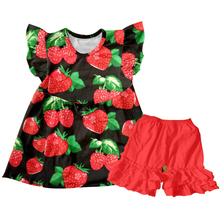 new fashion wholesale boutique baby girl clothes flutter top strawberry honey girls children boutique outfits