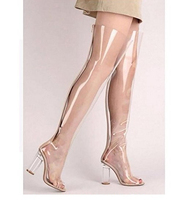 Pointy Toe Block Chunky Clear Perspex Heel Thigh High Boot