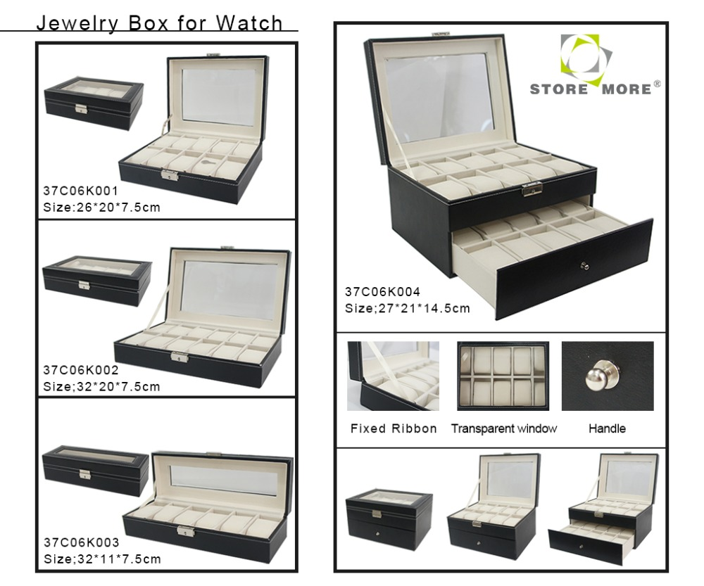 Watch Box 12 Mens Black Pu Leather Display PVC Top Jewelry Case Organizer