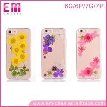 Hot selling Transparent epoxy sticky case with real flower embossed for iPhone 6s