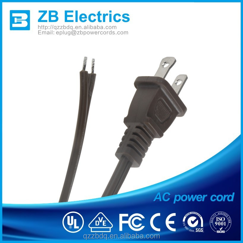 UL CUL approval USA 2 pin power cord with male female plug