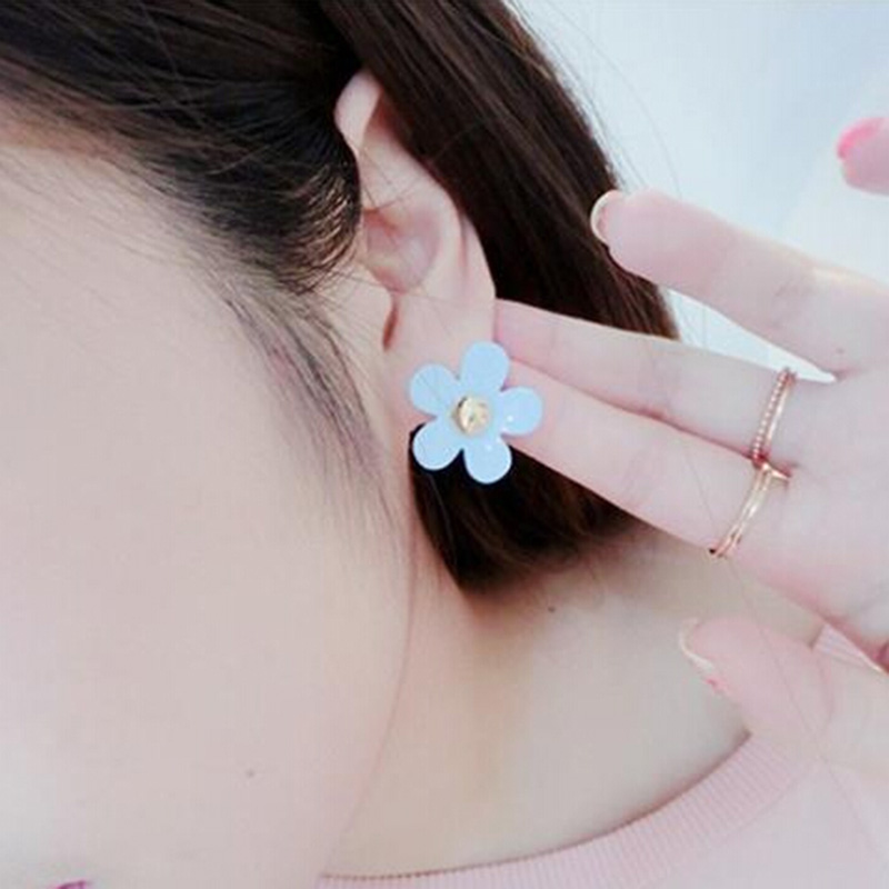 New Hot Sale Fashion Korean Style Simulated Pearl Sweet Candy Color Clover Flower Stud <strong>Earrings</strong> for Women Girls Piercing Jewelry