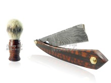 Cut Throat Handmade Damascus Straight Razor DD-13-3006 Snakewood Handle with Shaving Brush