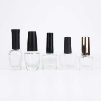 China supplier 5ml 8ml 10ml 15ml empty custom square glass gel nail polish bottles with brush caps