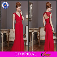 2014 Red Sexy Chiffon Cap Sleeve Floor Length Mother Of The Bride Dresses Pics