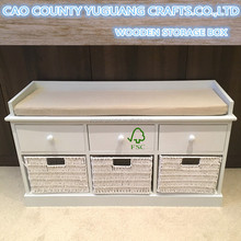 White wooden Storage Bench with paper rope Drawers