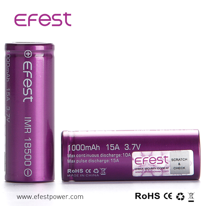 New Recycle li-ion Battery 18500 1000mah efest Battery Imr 15A Batteries Vape Batteries