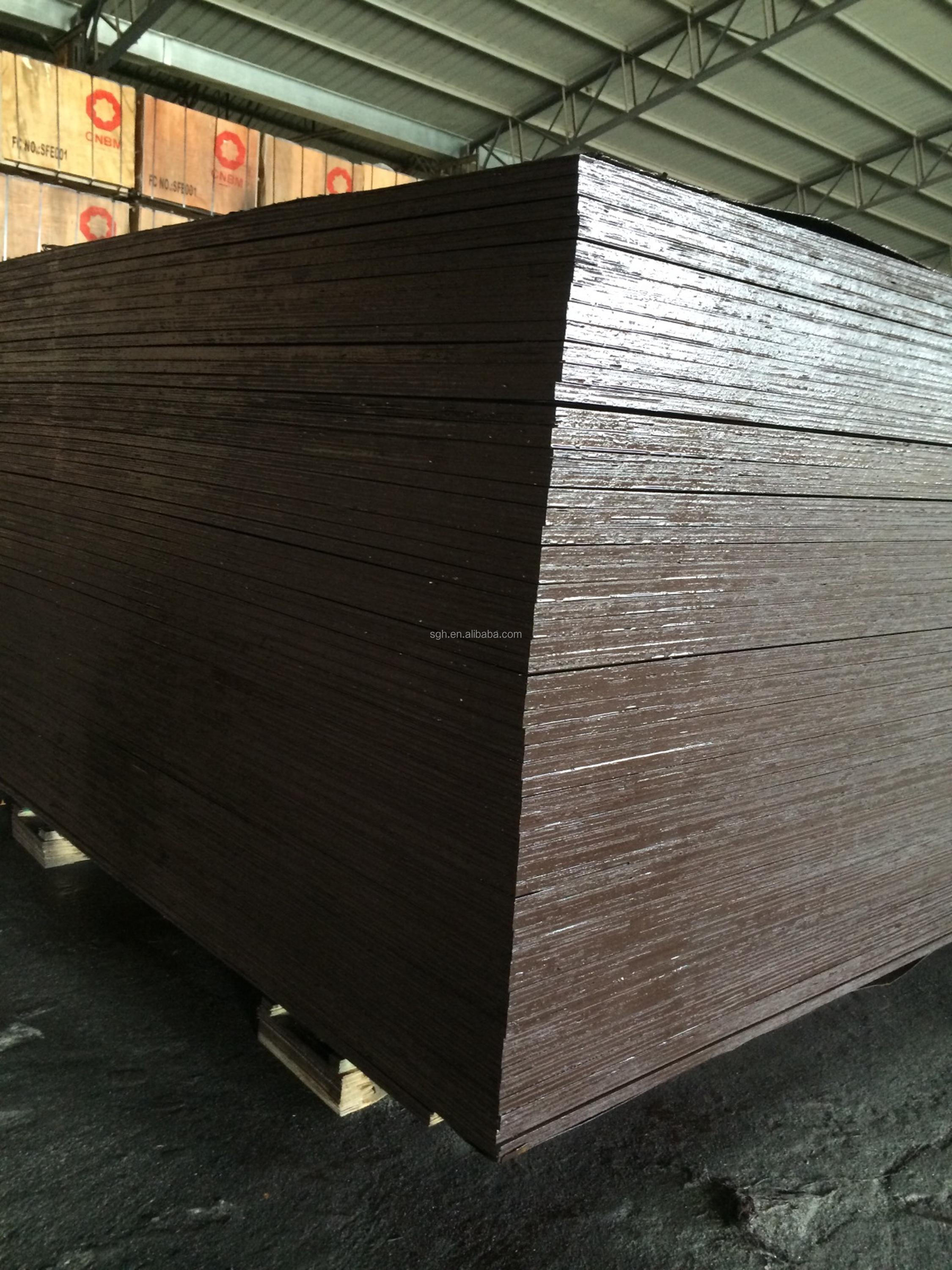 Plywood type both sides laminated brown film paper phenolic glue plywood used for concrete formwork