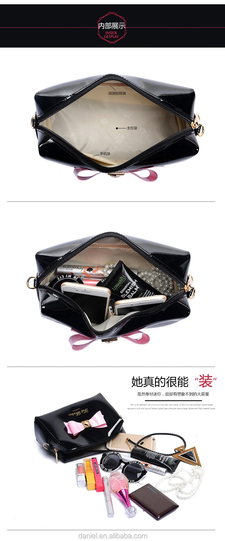 Black PVC big bowknot make-up bags&cases for lady