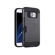Brushed Combo Hybrid Case For Samsung S7,For Samsung Galaxy S7 Phone Case With Card Holder