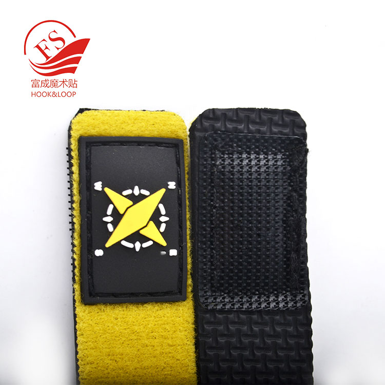 Custom yellow diving rod ties adjustable neoprener strap fishing rod band with patch