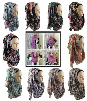 Jersey Print instant one loop Muslim Hijab Slip On Shawl Wraps amira slip on hijab scarf JLS114