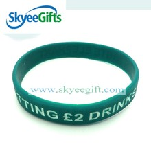 2016 hottest debossed silicone bracelets with customs sayings