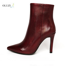 OlzB26 hot sale side zipper up match to fancy dress patent leather upper no platform pointy toe ankle boots for girls
