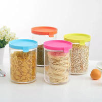 Large food grade clear glass pp plastic storage jar bottle food container with lid