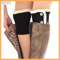 2016 Back to School Ladies Crochet Knitted Lace Trim Boot Cuffs Toppers Winter Leg Socks Wholesale