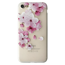 New Arrivals 2018 Embossed Painting Phone Cover Colorful flower Case for iPhone 7 Floral Case Wholesale