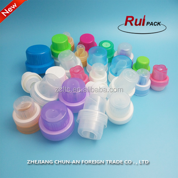 Good quality different kinds of plastic screw caps ree samples / PP laundry detergent bottles cover with inner lids
