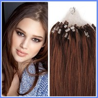 Fashion Loop Micro Ring Beads Tipped Remy Human Hair Extensions #4 Chestnut Brown Human Hiar